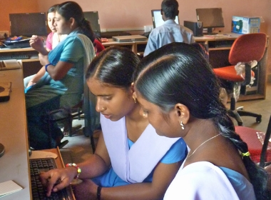 Gandhi College students in the computer lab, February 2010