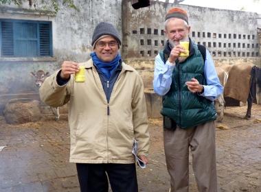 J. Shukla and Mike Wallace having fresh milk with tumeric (February 2010)