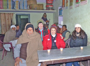 Mahendra Shukla, Susan Wallace, MaryLynne Evans, and Sonia Shukla with village residents (February 2010)