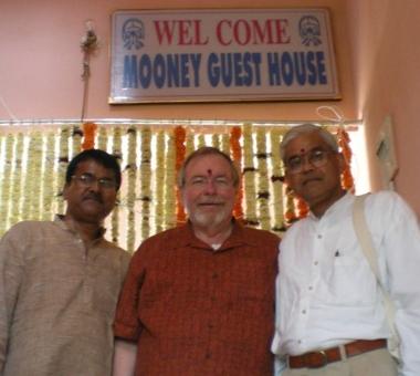 Shriram Shukla, Ken Mooney, and J. Shukla in the Mooney Guest House
