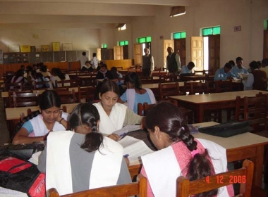 Students at work inside the library