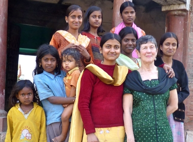 Susan Wallace visiting a house in Village Mirdha (February 2010)